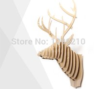 Wholesale 2014 look new year novelty items Deer sculpture animals head home live wall decoration DIY animals head wooden furniture