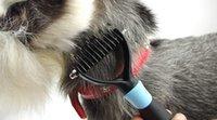 Wholesale Professional Pet Grooming Undercoat Rake Comb Dematting Tool TPE PP Teeth Wide