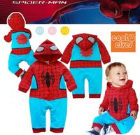 Cheap Wholesale - baby boy romper long sleeve hoodie romper with spider-man cool boy wearing clothes 100%cotton 0-2T