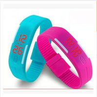Wholesale 2016 Colorful Waterproof Soft Led Touch Watch Jelly Candy Silicone Rubber Digital Screen Bracelet Watches Men Women Unisex Sports Wristwatch