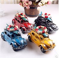 al por mayor coches europeos de la vendimia-Estilo Vintage Miniatura de coches de metal Europeo Rojo Amarillo Azul Coche Modelo Coleccionista Coche Amateur