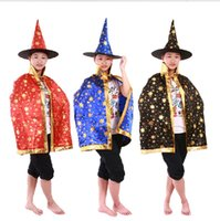adult witch hats - Child Adult Halloween dress clothing for men and women show magician costume witch cloak cloak star cloak Star Hat Set new