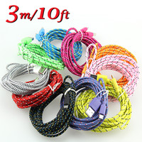 Wholesale Colorful Fabric Braided V8 Micro USB Charger Cable Adapter M FT M FT M FT Data Sync Nylon cord for Mobile cell phone
