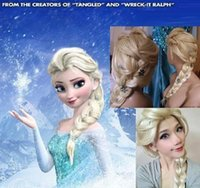Wholesale Frozen Snow Wig Anna Elsa Wig flowers Long Braid Cosplay Anime Wig ponytail Classic Halloween Hair