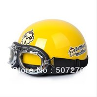 adult size scooters - IBK ABS Half Face Ebike Scooter Casco Motorcycle Bright Yellow Cute Monkey Helmet amp UV Goggles For Adults Size M L XL