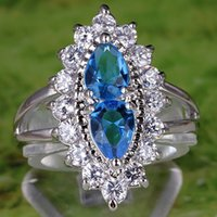 Wholesale Trendy Lady Jewel Cluster Finger Ring Top Blue Pear Cut Blue White Topaz Gemstones K White Gold Plated Ring Size