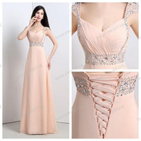 bead embroidered evening dress - 2015 Backless Evening Dresses Stock Prom Evening Capped Sleeves Sweetheart Beads Sequins Pink Long Chiffon Bridesmaid Dresses Cheap Dress