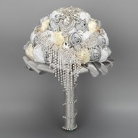 Wholesale Luxury Colors Rose Wedding Bouquet Holding Flowers With Crystal Bead CZ Diamond Hunter Silver Popular Wedding Accessories Cheap
