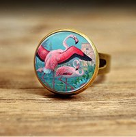 pink flamingos - RC113 New Fashion Pink Flamingo ring Glass Picture Art Flamingo ring for women men Bird