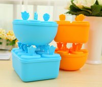 Wholesale 2016 round Rectangle fridge Ice Cream Pop Mold Popsicle Maker Lolly Mould Tray Kitchen DIY tools