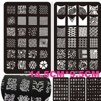 Wholesale 1sheets DIY hot Printing Available CM CM d Nail Art Stamping Plates French Tips Lace Templates Stamp Stencils NAO40