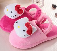 cartoon slippers - Cartoon D KT Cat Pattern Girls Slippers Lovely Winter New Arrival Home Slippers Children Girls Cotton Slippers Kids Shoes Rose Pink L0735