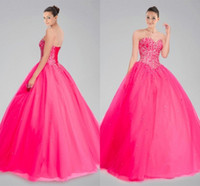 Wholesale Quinceanera Dresses Ball Gown Cheap Girls Debutante Gowns Sexy Backless Sweetheart Beaded Top Floor Length Tulle Elegant Fuchsia Gowns