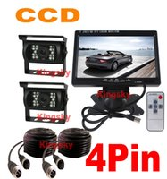 Wholesale 2 x V LED IR Waterproof CCD Reverse parking Backup Camera Pin quot LCD Monitor Car Caravan Truck Rear View Kit
