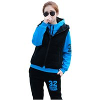 Wholesale winter New women thick hoodie set sport suit hoodie pants vest set colors full size good quailty