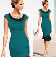 Wholesale NEW FASHION mermaid eleagnt formal sleeveless Womens special Button Wear To Work Celebrity Evening Party Wiggle Pencil Dress DK3025CL