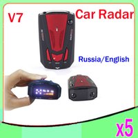 Wholesale v7 car Radar Laser detector Russian English warning vehicle speed control Radar detector Red blue ZY LD