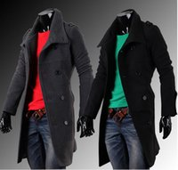 Wholesale Top material New fashion Men s Dignity Double breasted long trench Coat dust coat jacket overcoat A160