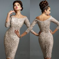 Wholesale Sexy Mother of the Bride Lace Dresses With Sleeves Off Shoulder Formal Short Groom Party Evening Gowns For Weddings Knee Length M2196