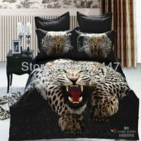 Cheap Black leopard animals 100% cotton king queen size bedding sets 4pcs 3d printed duvet bed quilt covers bedcover comforter linen