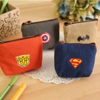 Wholesale Creative Super American Heroes Mini Coin Purse Key Wallet Pouch Mini Wallet Multi Function Storage Bag Retail TRD