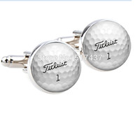 Wholesale 1 pair wedding cufflinks for mens Golf Ball Cufflinks Round Glass Hand made CuffLinks men cuff links