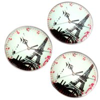 Cheap 2015 New Style 60pcs lot Tower & Clock Pattern Glass Jewelry Findings Round Glass Tiles 25*25*6mm 200298