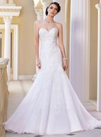 ballerina wedding gown - Lace Wedding Dresses Ballerina Sweetheart Sleeveless Organza Sweep Train Covered Botton Backless Mermaid Bridal Gowns