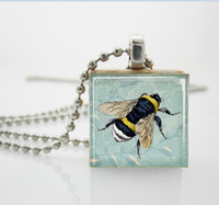 backgrounds tile - Honey Bee Necklace Bumblebee on Blue Floral Background Scrabble Tile Pendant Scrabble Tiles For Jewelry AA
