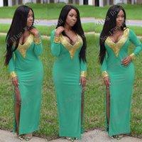 Cheap Sexy V Neck Beaded Rhinestones Side Split Spandex Muslim Long Sleeve Arabic golden evening mint green prom long corset dresses