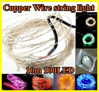 wire tree - 10M V LED LED Copper Wire string light lighting Party Wedding Christmas Flashing LED strip strips multi color For Christmas tree