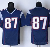 Football Men Short DHL Free Shipping Wholesale Cheap Men's American Football Jerseys #87 Navy Blue White Elite Game Home Rugby Stitched Jersey Uniforms