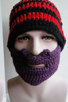 bicycle beard - Newest Handmade Knitted Crochet Mustache Hat Full Beard Beanies Face Warmer Bicycle Mask Ski Winter Cap Cool Funny Hat Unisex Warm Gift