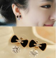 allergies pictures - Factory C309 imitation earrings earrings are simple fashion lynx allergy Bow Earrings picture zircon Valentine s day Gifts