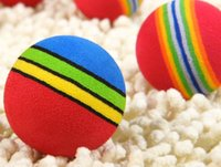 ball dogs - 100pcs Super Q Rainbow Toy Ball Small Dog Cat Pet EVA Toys Golf Practice Balls mm mm