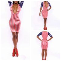 american flag gown - American flag Stars and Strips Patchwork Panelled Bodycon Slim Sexy fashion design Stretchy Bandage Prom Gown Dresses Modest Evening Dress