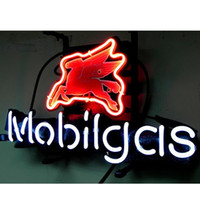 Wholesale 17 quot x14 quot Mobil Gas Mobilgas Oil Station design Real Glass Neon Light Signs Bar Pub Restaurant Billiards Shops Display Signboards