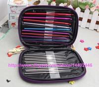 Wholesale 120set set Aluminum Crochet Hooks Needles Hook Needle Knit Weave Stitches Knitting Craft Case Kit free ship