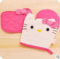 Wholesale Hello Kitty Oven Mitts Microwave Oven Grill Tools Safety Glove Insulation Mat