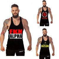 alpha tank - New Golds Gym Print ALPHA gym clothing Cotton Vest Bodybuilding Fitness Singlet Gymshark Sport Gorilla Wear Tank Top Men Shirt