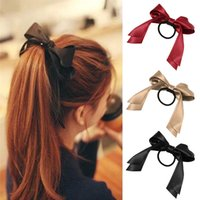 Wholesale Lackingone Summer style hair jewelry piece Women Tiara Satin Ribbon Bow Hair Band Rope Scrunchie Ponytail Holder Color Hot