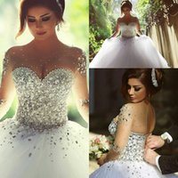 sleeve photo - Vestidos De Noiva Casamento Sheer Long Sleeve Princess Ball Gown Wedding Dresses Tulle Crystal Pearls Winter Plus Size Bridal Gowns