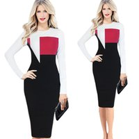 Wholesale Slimming Elegant Clothes - Fashion Long Sleeved Dresses Patch Work Office Pencil Dress for OL Suits Slim Elegant Women's Clothing