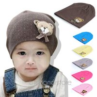bear hat pattern - Baby hat kids head cap with cute little bear pattern babys cotton cap for baby M spring autumn TZ388