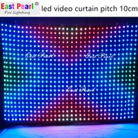 Wholesale A2610 H6 ft x W19 ft led video vision curtain pitch mm DMX remote SD CARD mobile entertainers dj shows nightclubs stage backdrops