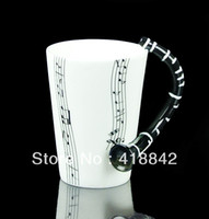 Cheap Wholesale-Black Stave Clarinet Music Note Mug Cup Porcelain Ceramic Special Gift