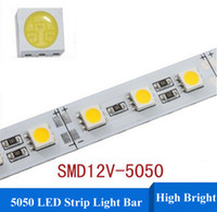 Wholesale DC12V cm m led SMD Aluminum Alloy Rigid Bar light Led Strip light Non Waterproof Warm White White