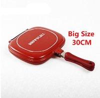 Wholesale frying pan cm Big Size Fry Pan Non stick Fryer Pan Double Side Grill Fry Pan