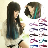 other remy clip in - Hot Sales Fashion Women Girls Multicolor Long Straight Synthetic Clip in on Ombre Hair Extensions cm PX41