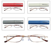 aluminum box tube - Reading Glasses Pen Case Colors Aluminum Tube Unisex Eyeglasses Folding Portable Presbyopia glasses with box